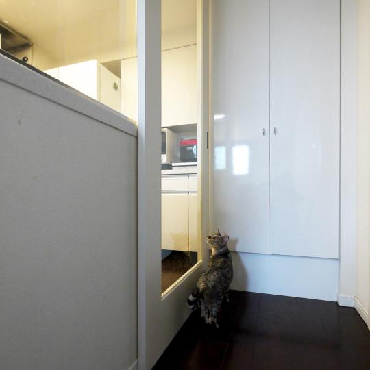 猫侵入防止のキッチン間仕切り